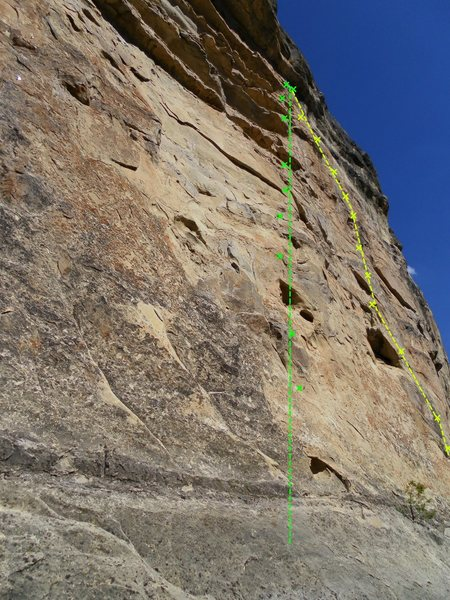 Yellow- Boney Fingers 5.11c<br> Green- Catacomb 5.10c<br> Picture is from a weird angle Boney Fingers heads staight up and Catacomb arches to the right