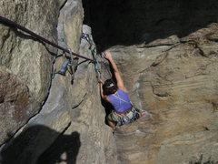 Rock Climbing Photo: Horseman, end of first pitch, Gunks