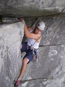 Rock Climbing Photo: David following P2 of Airlie.  The exciting traver...