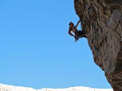 Rock Climbing Photo: moving through the crux traverse