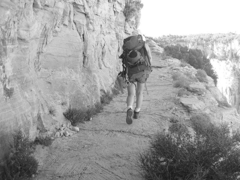 My poor pack that has seen better days, and I in Zion NP.<br> <br> We were able to score two permits for Mystery Canyon as a &quot;walk-up&quot; the day before- we had no luck reserving on-line as they were booked up; the nice  ranger at the back-country office said we got the last two permits available for Mystery Canyon on the day we had planned to do it. Woohoo! <br> <br> We hiked the long way to Mystery Canyon, hiking up the Weeping Rock trail, just beyond Observation Point. The hike up to the Mystery Canyon wasn't as strenuous as I imagined it would be, and the views off this trail are awesome.<br> <br> I love Zion!<br> <br> Taken 6/24/10