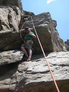 Rock Climbing Photo: Just past the flake and on my way up to the slab.