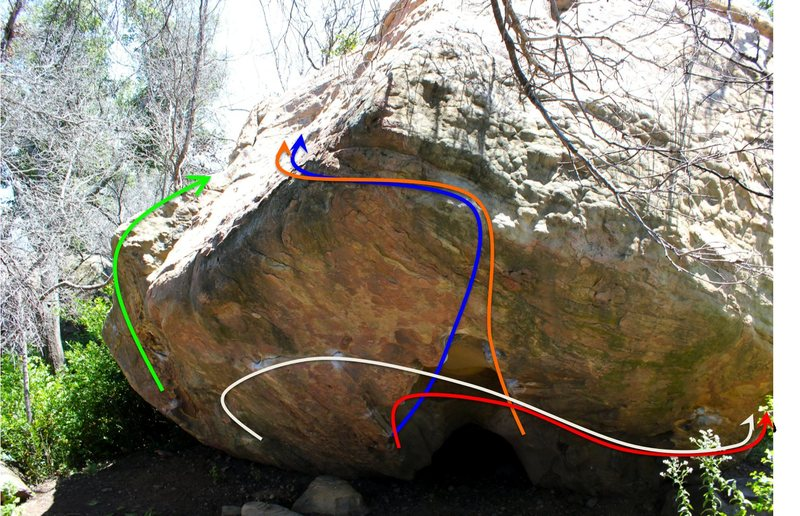 Beta photo showing some of the many lines on the Outlaw boulder:  I ain't broke, but I'm badly bent (green, V3), Dancing Outlaw (blue, V8), Double Super-Buzz (Orange, V8), Akiba's Prison (Red, V8), Zombie Armageddon (White, V10?)