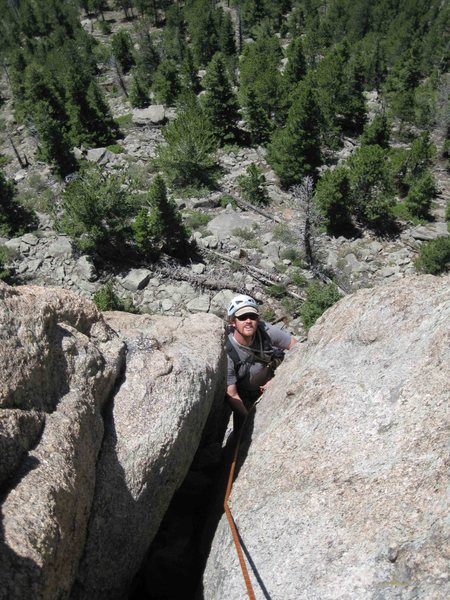 Rock Climbing Photo: Alan emerging from the top of pitch 1 (as done wit...
