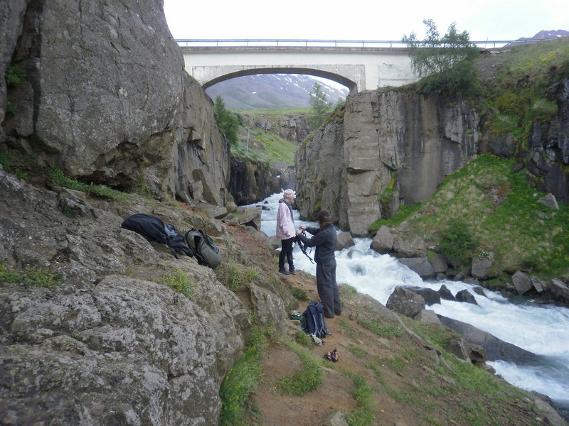 Munkadveragil Gorge<br> Routes under the bridge have anchors bolted right into the bridge itself...