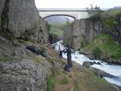 Rock Climbing Photo: Munkadveragil Gorge Routes under the bridge have a...