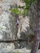 "Rock Climbing Photo: Dave Rone attempts ""Leaning Jowler"" June..."