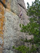 """Rock Climbing Photo: Dave Rone higher up on """"Leaning Jowler"""" ..."""