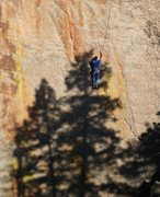 Rock Climbing Photo: Paul Foster climbs beyond early morning shadows in...