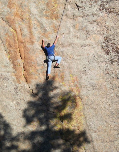 Rock Climbing Photo: Paul Foster working out the moves on the upper cru...