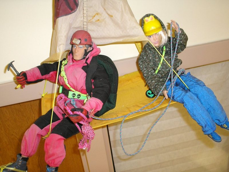 Action figures working from portaledge into second pitch of trad wall route.