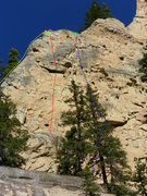 Rock Climbing Photo: Yellow- Adventure climb 5.9+ Red- Sticks and Bones...