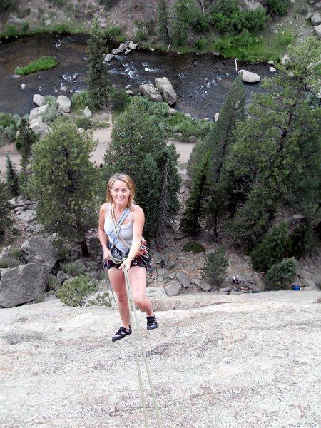 Rock Climbing Photo: Brenda raps down Persistence.