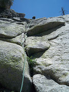 Rock Climbing Photo: Pitch 3 of this route.  Aim for the dead tree in t...