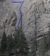 Rock Climbing Photo: Approximate route of Zendance bolted line. Shares ...