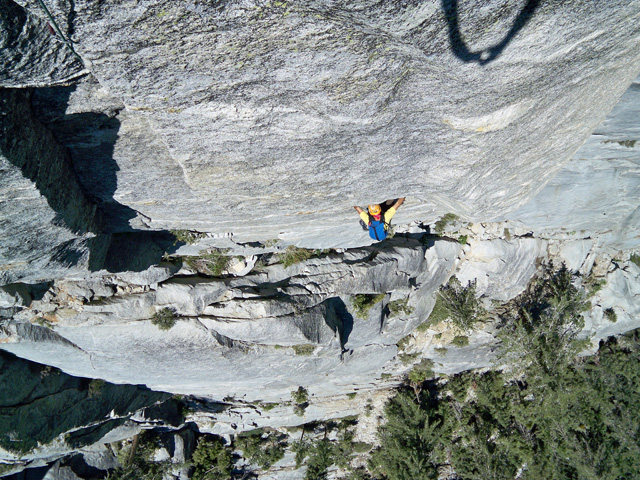 Rock Climbing Photo: Oscar nearing the crux.  Whose hands are those in ...