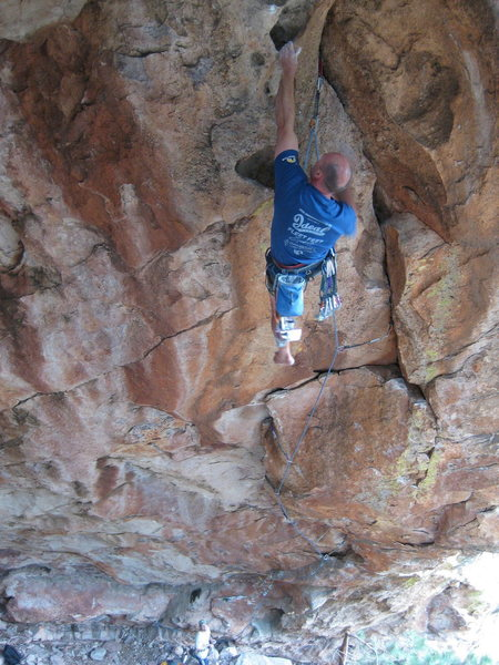 Rock Climbing Photo: Paul Glover just past the crux on his barefoot red...