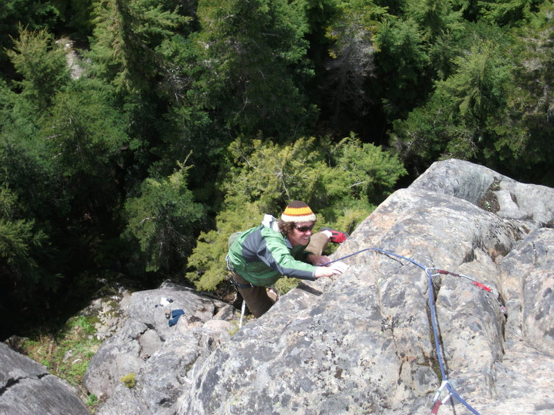 """Rock Climbing Photo: Darrell on p2 of """"Right On"""" at 7 mile ro..."""
