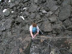 "Rock Climbing Photo: Kara jamming the top of ""Pretty Mouth"""