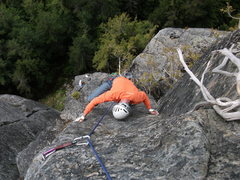 "Rock Climbing Photo: Martin at the P1 crux of ""Right On"" at 7..."