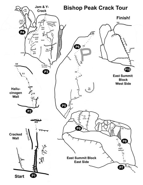 Compilation showing the various topos that make up the BP Crack Tour. Refer to the Knight Rider e-Guide for more info. on the individual pitches. <br> <br> Source: http://centralcoastclimbing.com/