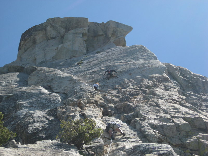 Agina on pitch 1 with climbers on the edge route above her.  6-26-10