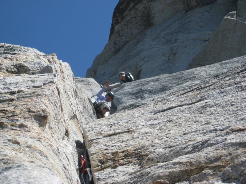 Agina on hold while the climbers above moved out of the belay stance.  6-26-10