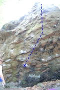 Rock Climbing Photo: Start holds to the left, route trends right on cri...