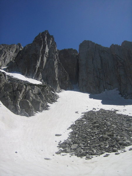 Looking up at the Summit and South Summit walls from the toe of the moraine.