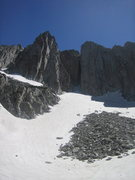 Rock Climbing Photo: Looking up at the Summit and South Summit walls fr...