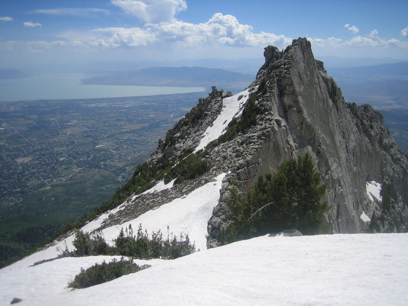 A view of the snowfield in the col between the Question Mark and South Summit walls.