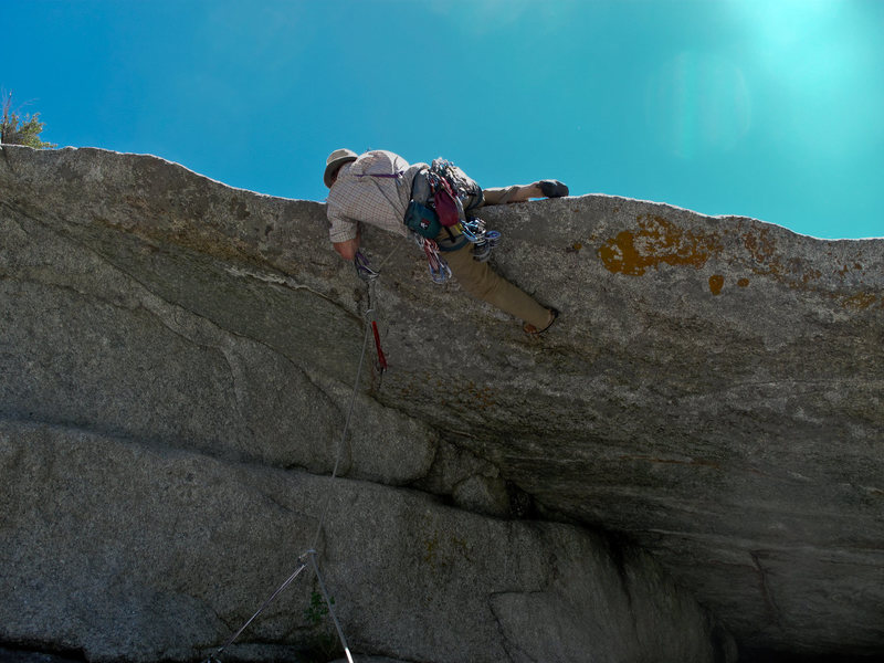 Pulling the lip on pitch 3 as the route is described here.<br> Photo- Maura H.