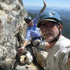 Agina and I on the 3rd pitch belay ledge. Nice and roomy, just watch out for the loose rock.  6-26-10