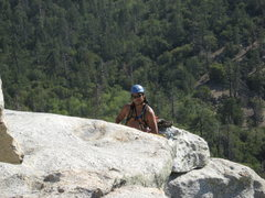 Rock Climbing Photo: Albert ready to belay Roger up the last pitch.  6-...