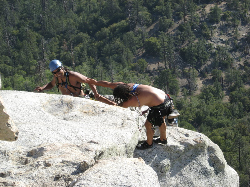 Rock Climbing Photo: Albert giving Roger a hand up the last step. 6-26-...