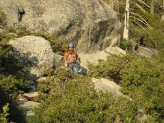 Rock Climbing Photo: Albert getting back to the base of the rock.  6-26...