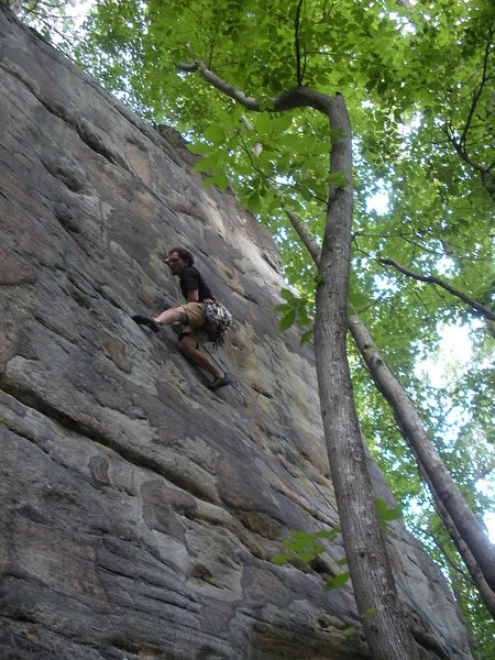 Rock Climbing Photo: Pulling the crux. The marginal quality of the phot...