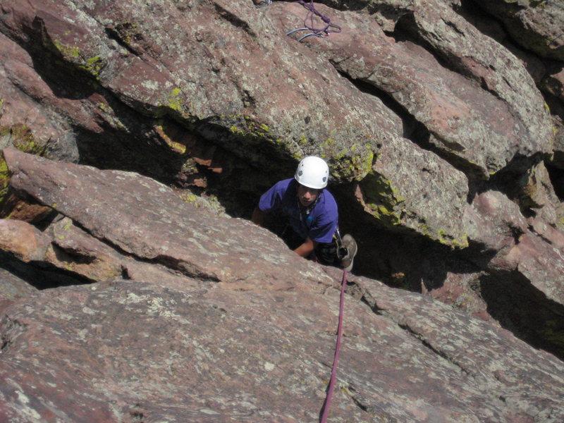 Michael following 3rd pitch to summit ridge.