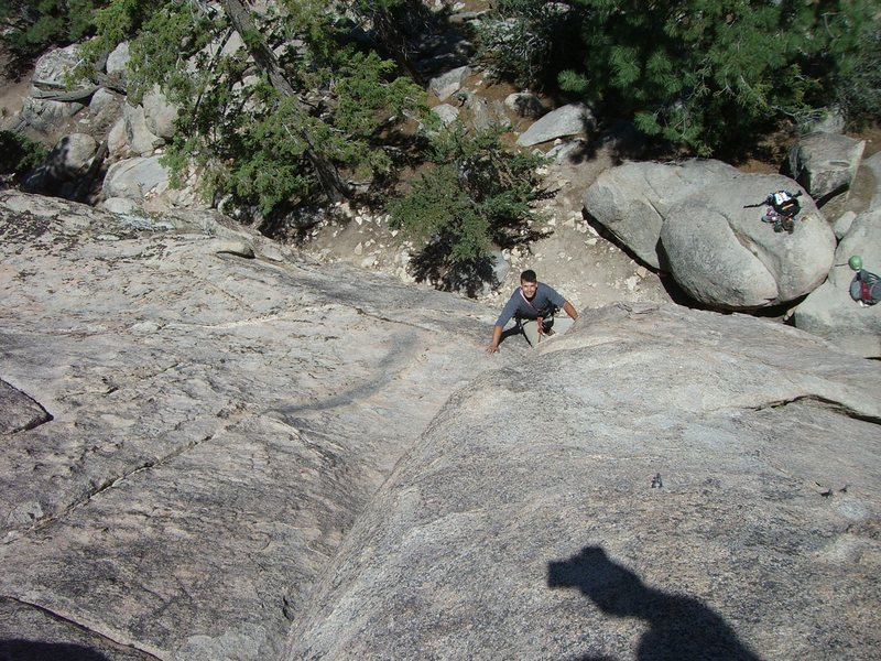 Rock Climbing Photo: Coming up the low angle corner crack