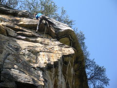 Rock Climbing Photo: Surmounting the the roof in the final feet of this...