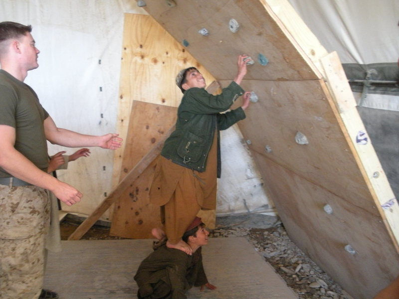 Rock Climbing Photo: teaching afghani kids climbing the wall