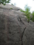 Rock Climbing Photo: Not the best picture... Half Moon Crack starts in ...
