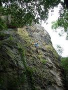 Rock Climbing Photo: John Schmacher mid route.