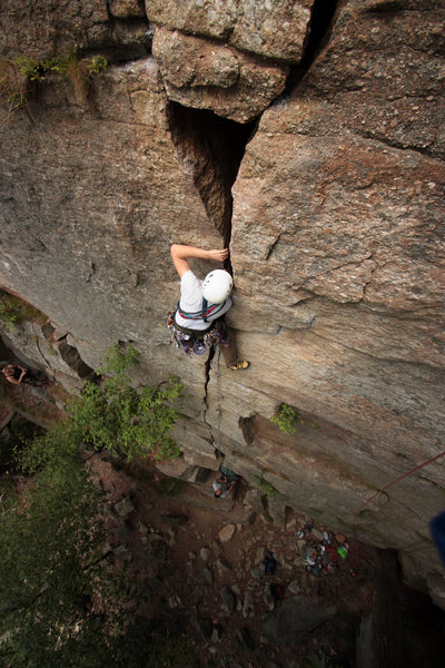 Rock Climbing Photo: In the off-width