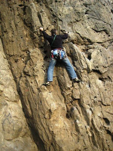 Rock Climbing Photo: Starting up Le Cosmos at Dave