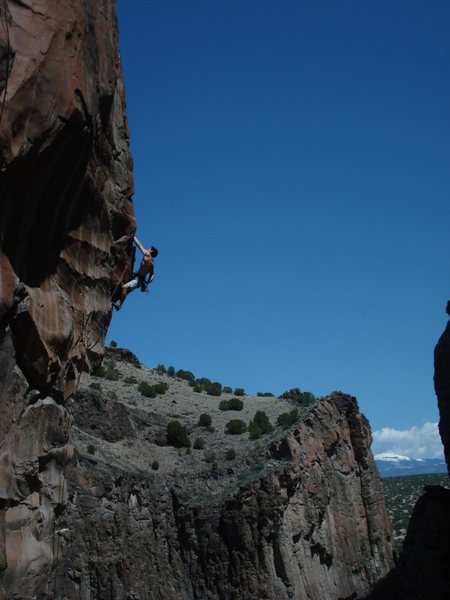 Post crux glory hanging on the arete<br> <br> photo by Carolyn Parker