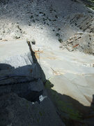 Rock Climbing Photo: looking back down P2 from just after the crux