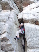 Rock Climbing Photo: The awkward chimney on Layback.  Feels like it wan...