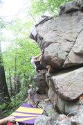 Rock Climbing Photo: Ringer throws a heel up...