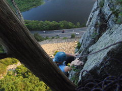 Rock Climbing Photo: Lauren pulling the final moves to the end of Trium...